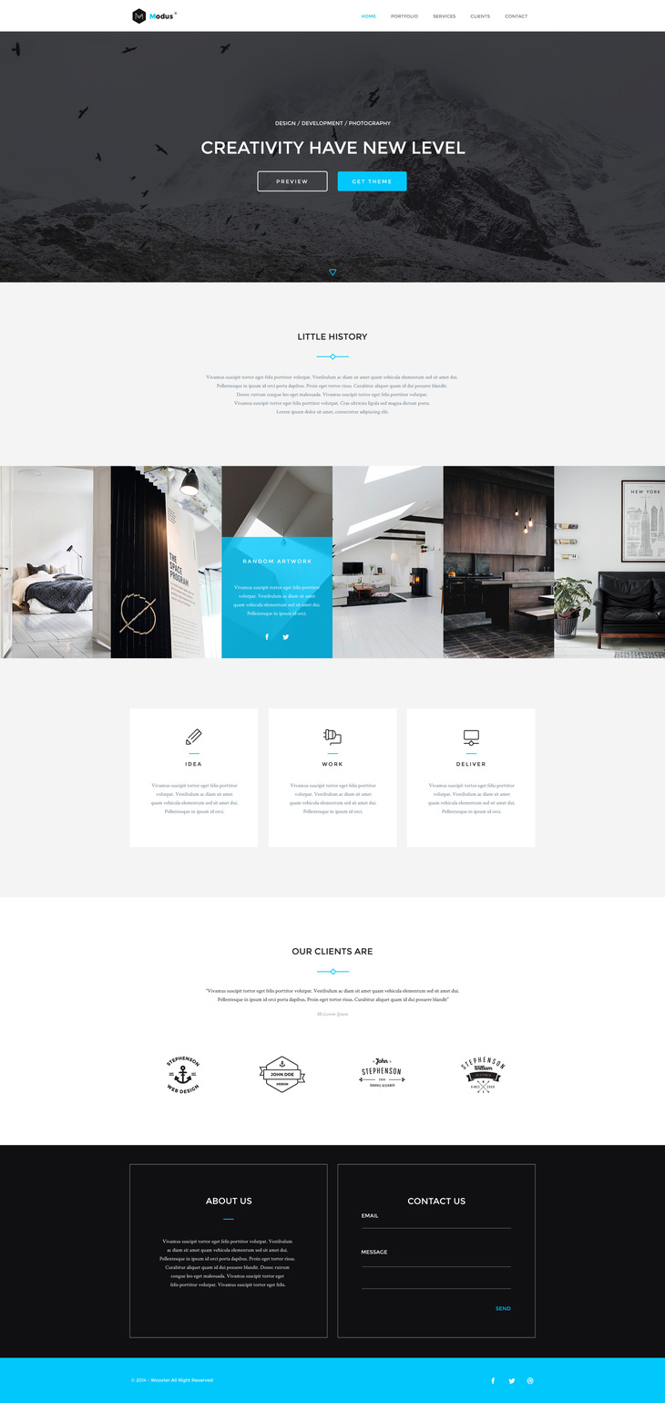 15 free psd website templates 2015 free psd templates modus is a great psd web template with beautiful and modern design modus is great for portfolio agency or any other type of web design free google fonts pronofoot35fo Gallery