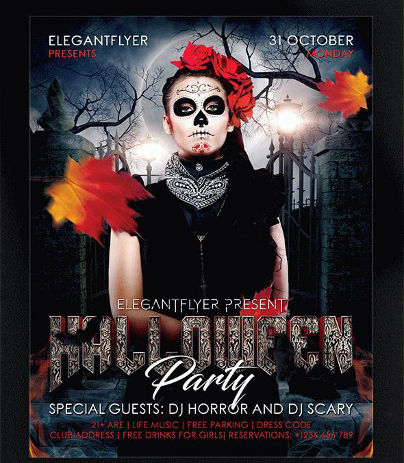halloween party flyer psd template facebook cover free download