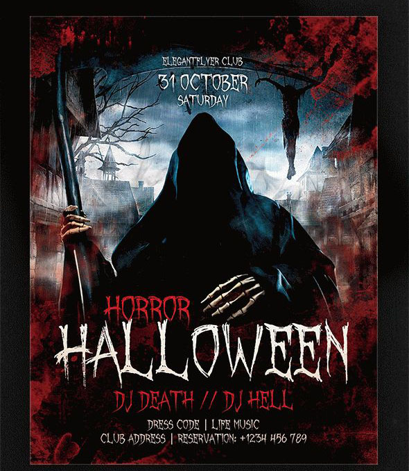 horror halloween flyer psd template facebook cover - Free Halloween Flyer Templates