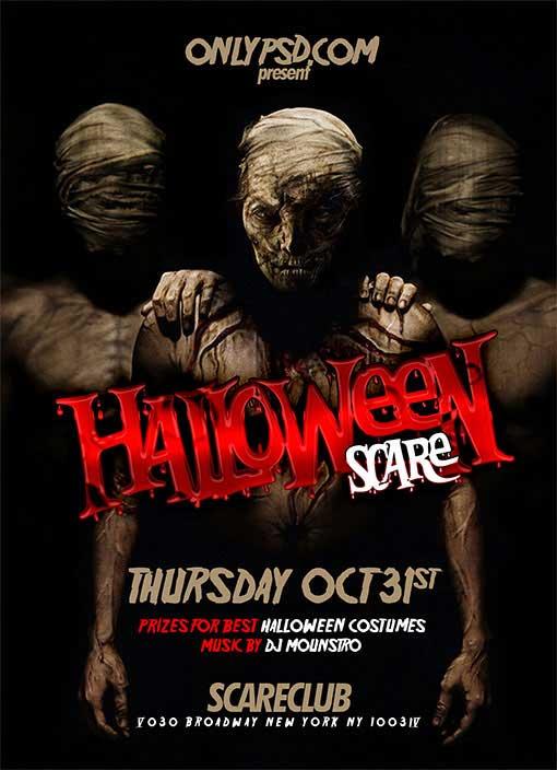 free halloween psd flyer template