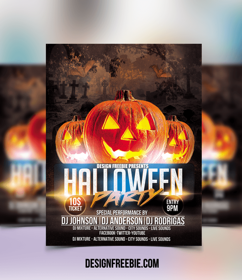 free awesome halloween party flyer template