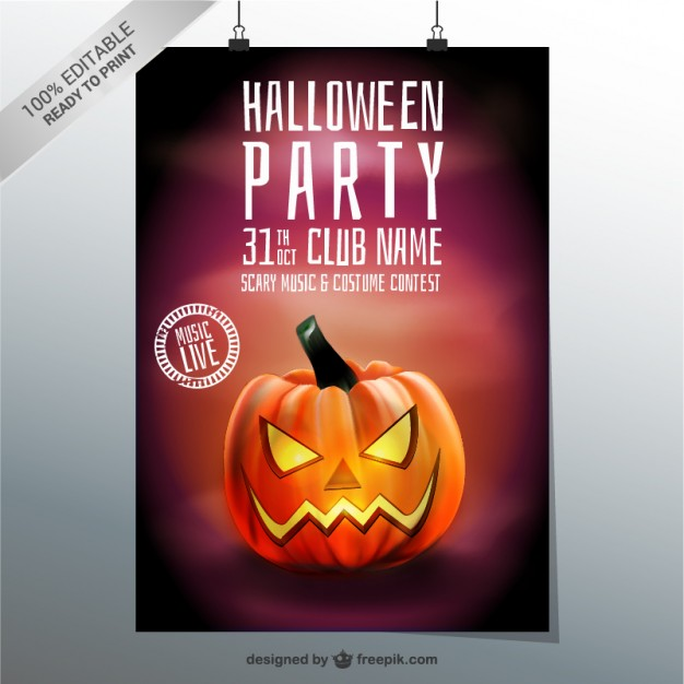 halloween party poster template with pumpkin_23 2147497419