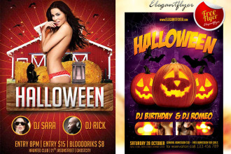 20+ free PSD Halloween flyer templates