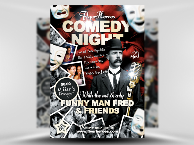 Free Comedy Flyer Template Night 1