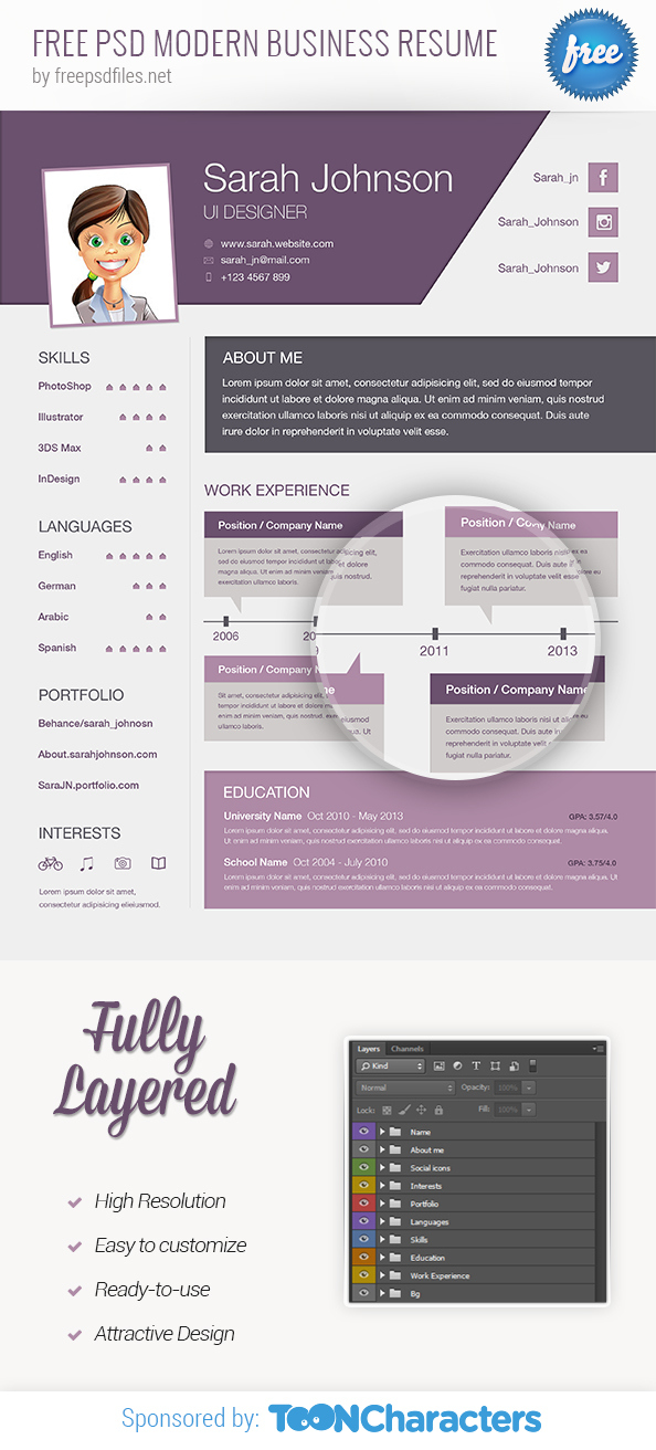Free-psd-modern-business-resume-preview