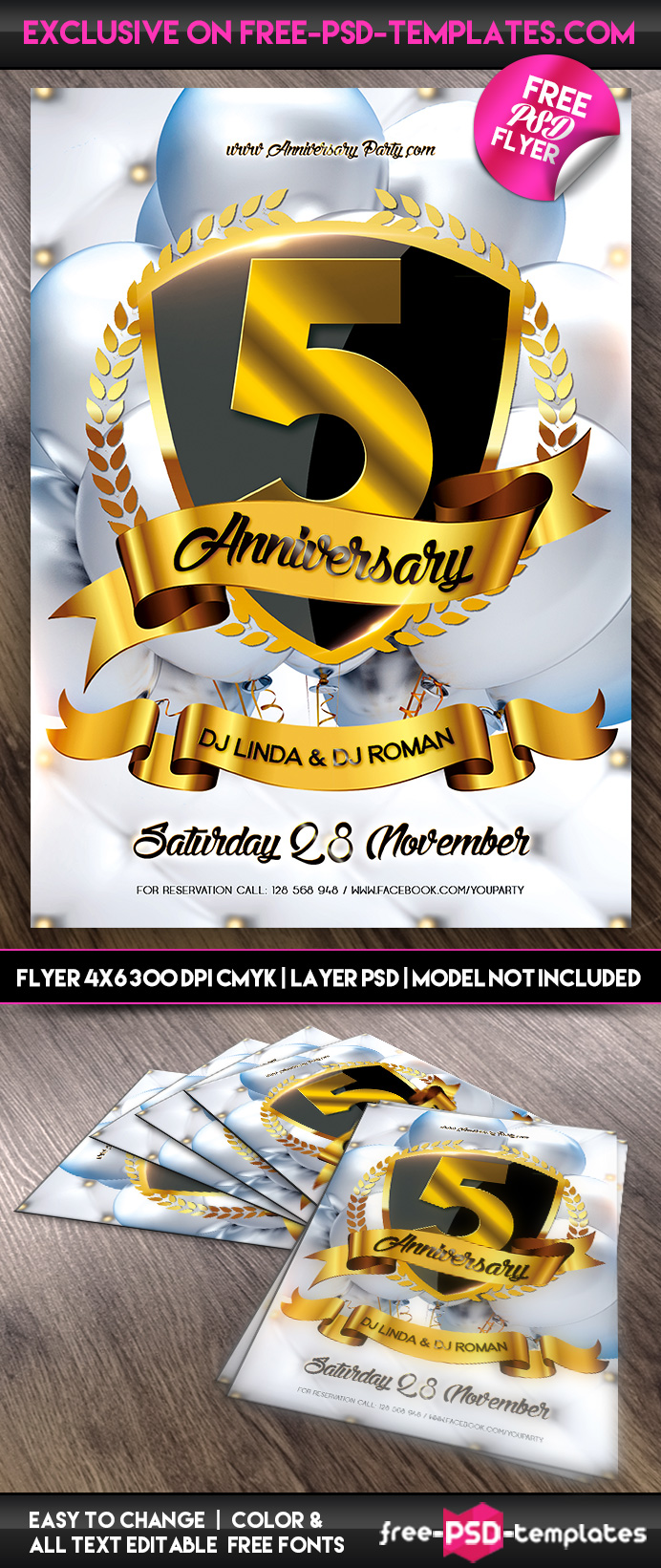 Anniversary Party - Flyer PSD Template | Free PSD Templates