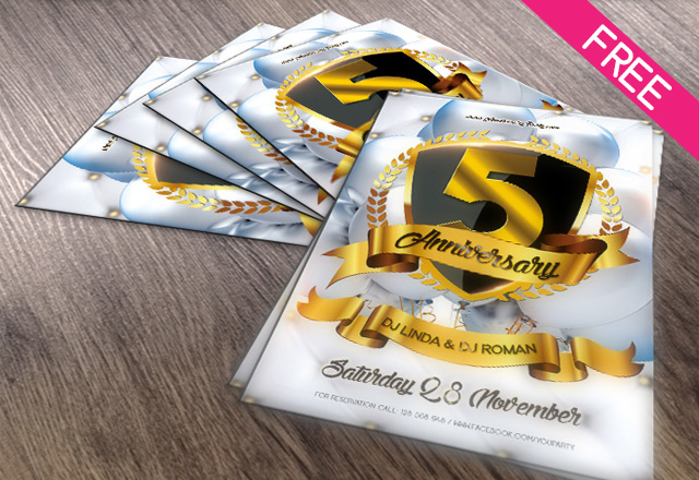 Anniversary party flyer psd template free psd templates pronofoot35fo Choice Image