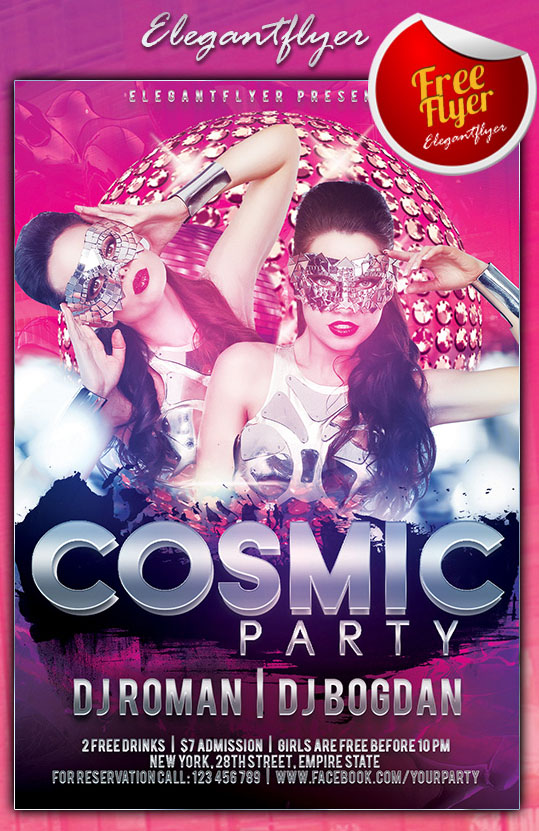 Cosmic Party Free Psd Flyer Template