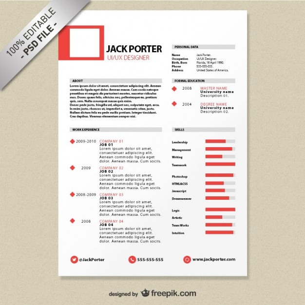 free psd cv resumes to find a good job free psd templatescreative resume template