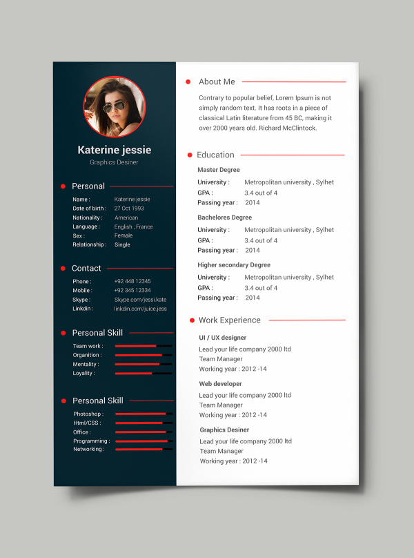 free psd resume cv template download 1 - Download Free Professional Resume Templates