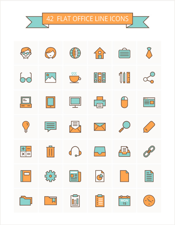 52-Flat-Office-Line-Icon-Set