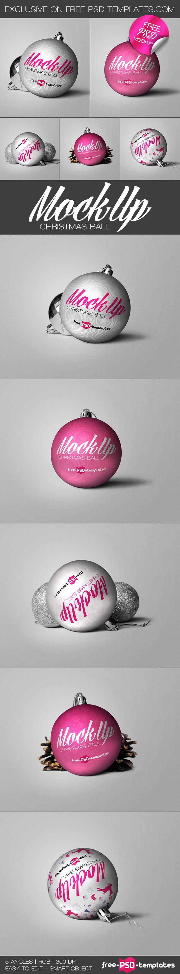Free christmas ball mock up free psd templates