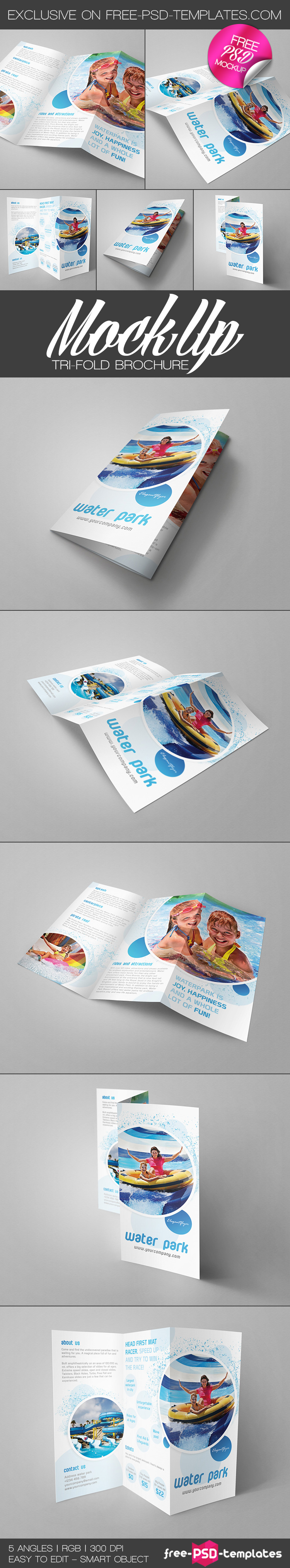 Mockup trifold brochure free mockup template in psd for Brochure design psd templates