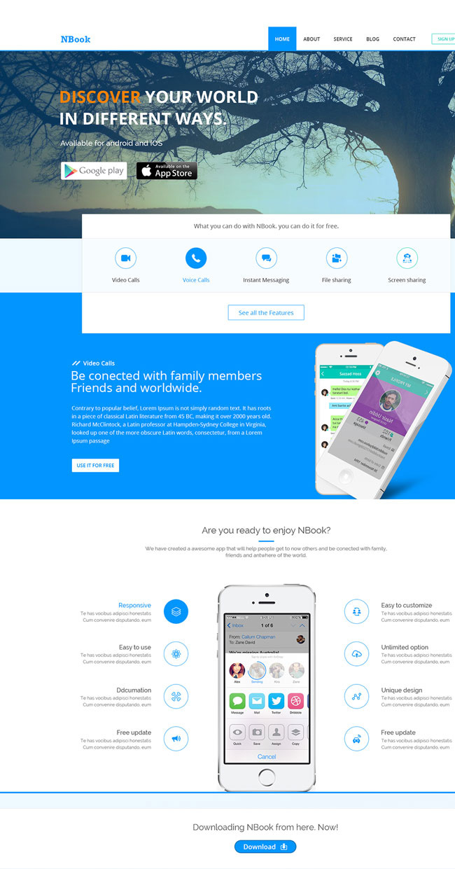 NBook-Free-PSD-App-Landing-Page-Template-Preview