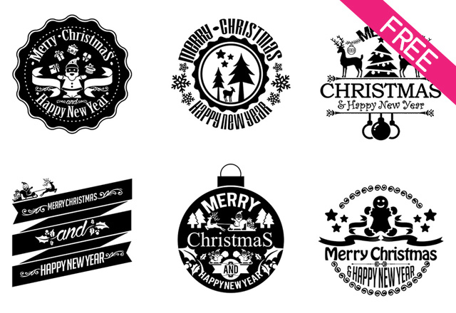 free christmas new year vintage badges sticker labels free psd templates