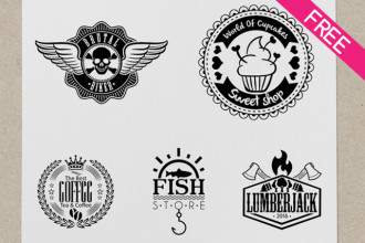 Free 5 Logos And Badges in PSD