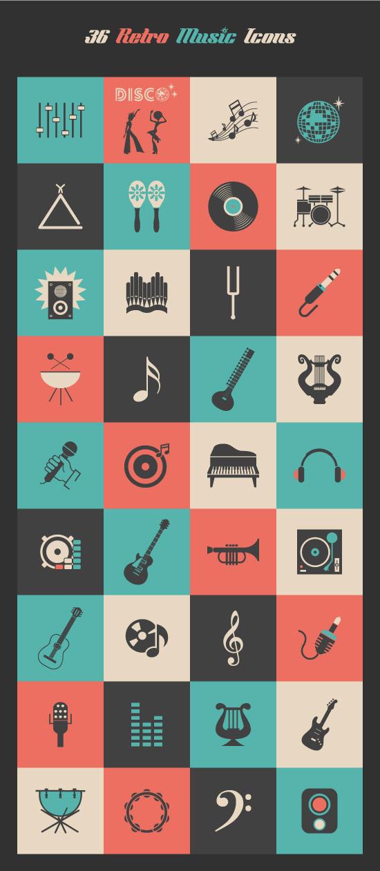 Retro-Music-Icons-Set
