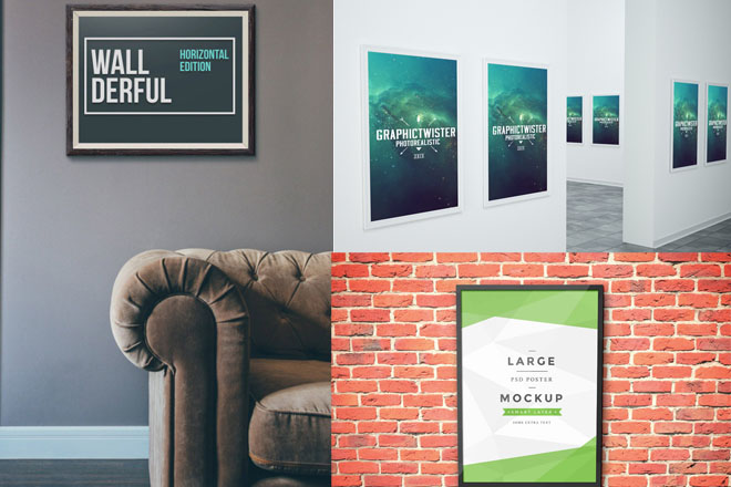 50+ Beautiful & Stylish Free PSD Frame/Poster MockUps for