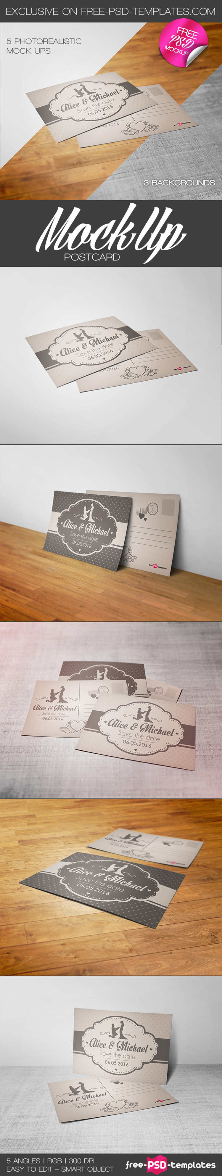 Free Postcard Mock-ups in PSD | Free PSD Templates