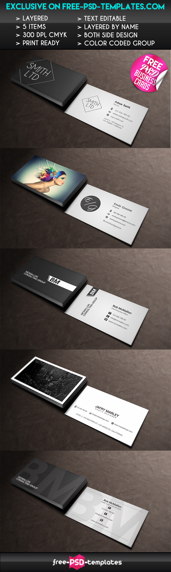 5 Free PSD Business Card Templates | Free PSD Templates