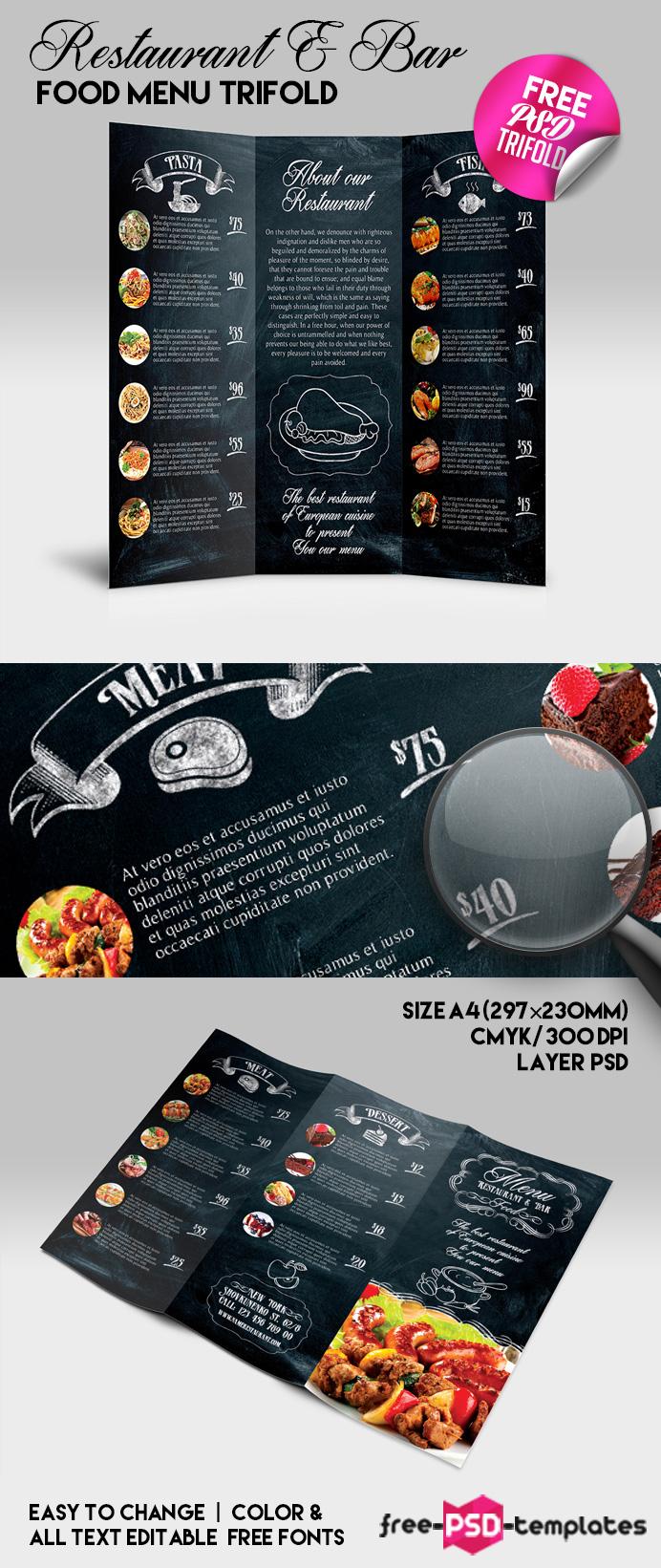 Free Restaurant Bar Food Menu Trifold Free PSD Templates - Menu brochure template free