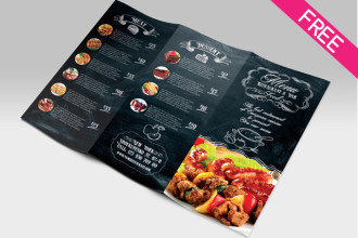 Free Restaurant & Bar Food Menu Tri-fold in PSD