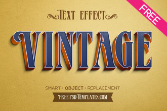 Free 5 Retro Vintage Text Effects in PSD