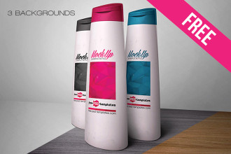 Free Shampoo Bottle Mock-up in PSD