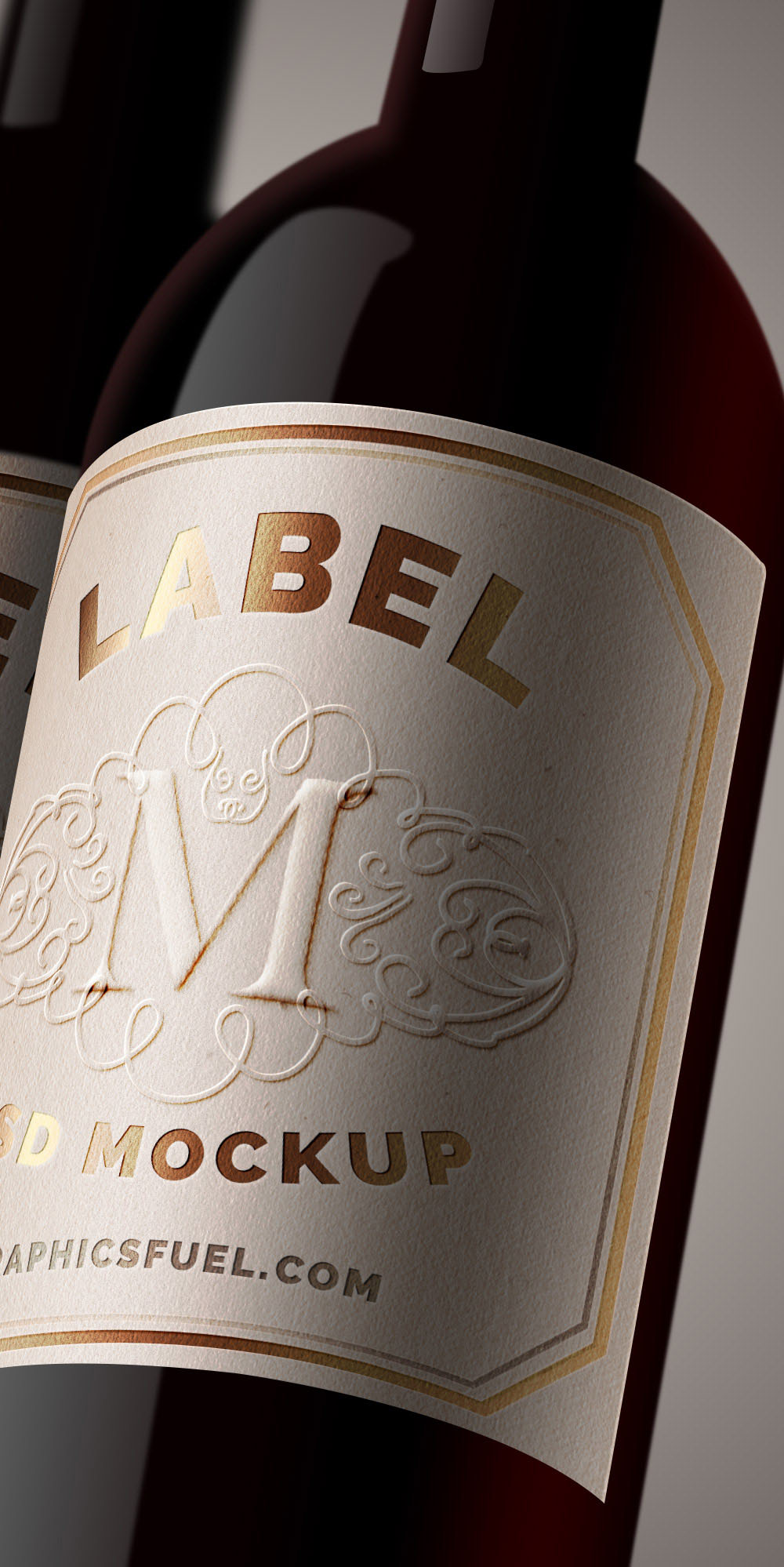 Bottle Label Mockup Psd  Free Wine Bottle Label Templates