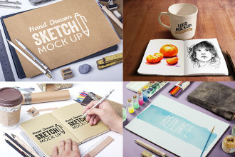 15 Free PSD Sketchbook MockUps for creative mind!