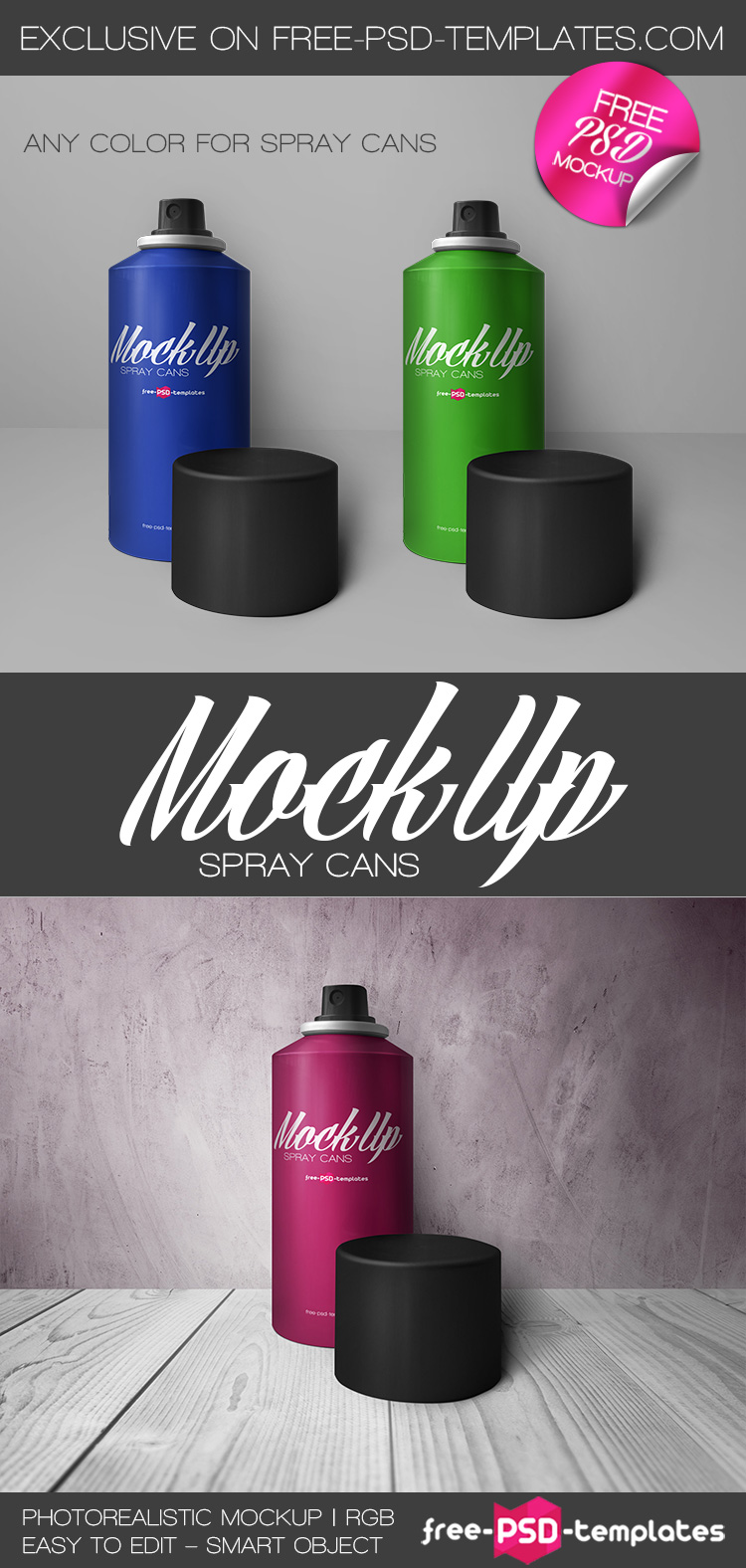 Free Spray Cans Mock-up in PSD | Free PSD Templates