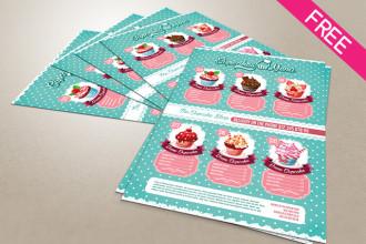 Free A4 Cupcakes Menu in PSD