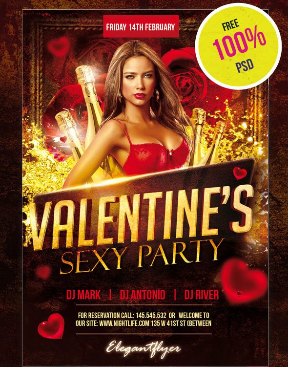 25  psd flyers   elements for st  valentine u0026 39 s day