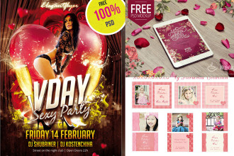 25+ PSD Flyers + Elements for St. Valentine's Day!