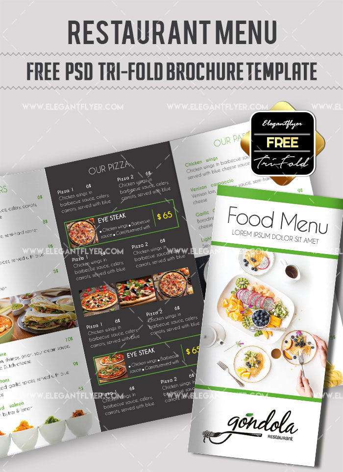 Free Food Menu Restaurant Brochure Template In PSD