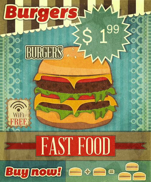Grunge Cover for Fast Food Menu - hamburger on vintage background with place for price and sign of free Wi-Fi- vector illustration