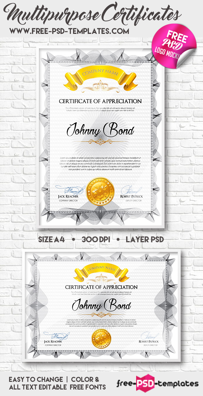 A4 multipurpose certificates free psd templates for Certificate of appreciation template psd free download