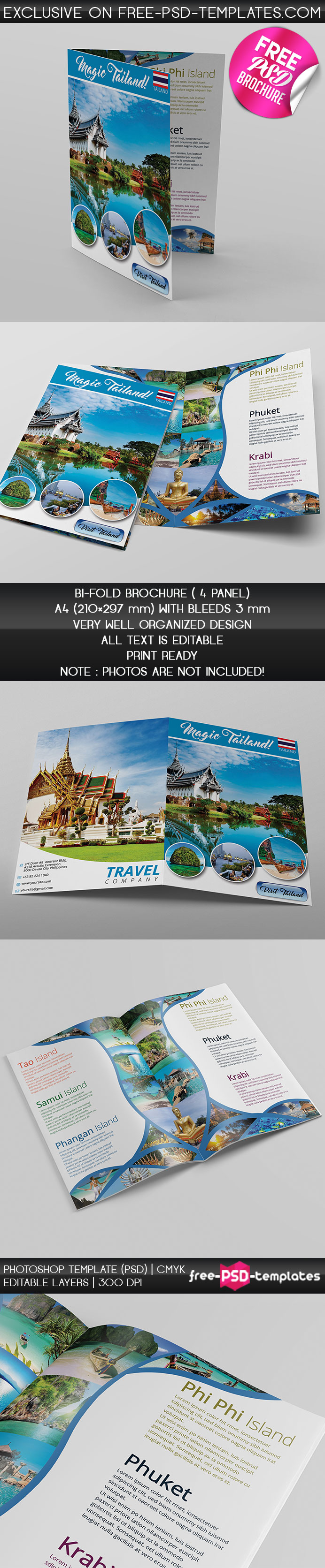 Touristic bi fold brochure free psd brochure template for Free psd brochure templates