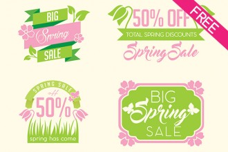 6 Spring Badges in PSD