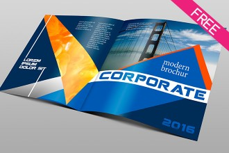 Free Corporate Bi-fold Brochure PSD template