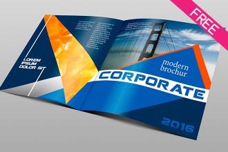 Free Corporate Bi-fold Brochure PSD template