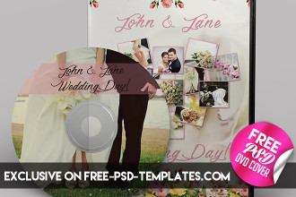 Wedding CD/DVD Cover – Free PSD Brochure Template + Facebook Cover