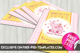 Baby Shower Card – Free PSD Card Template