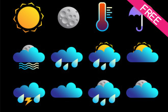 FREE 24 Weather Icons and Symbols in PSD