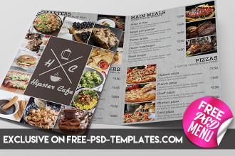 Free Cafe Bi-Fold Menu – Free PSD Menu Template
