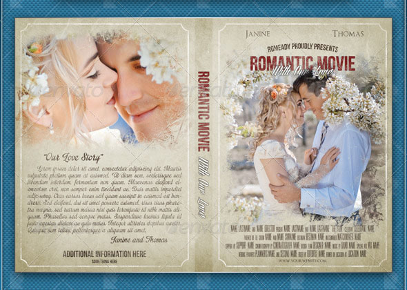 Wedding cd dvd cover free psd brochure template for Movie brochure template