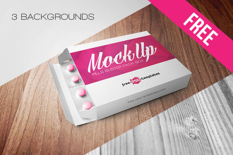 Free Pills Blister Pack Box Mock-up in PSD