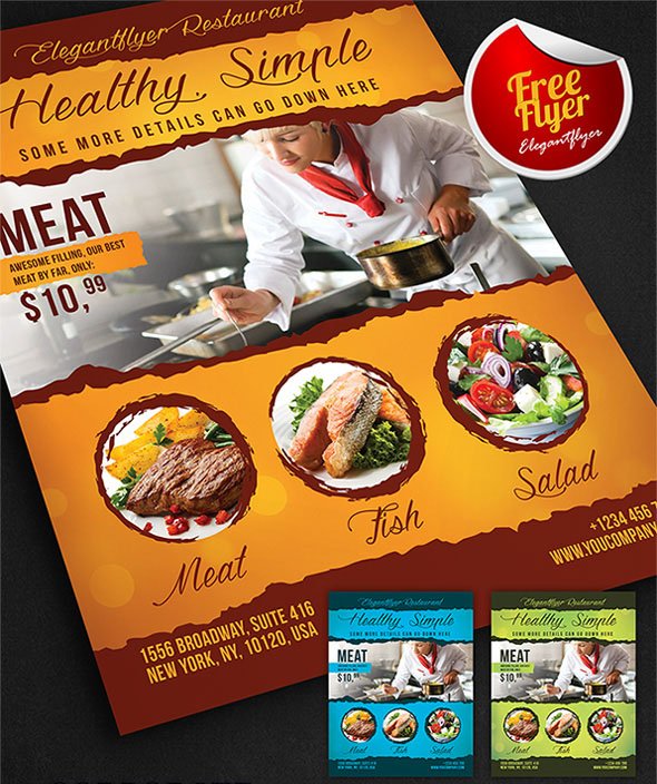 food restaurants free flyer psd template 1