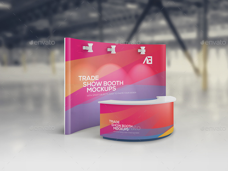 Free Trade Show Booth Mock up In PSD Templates