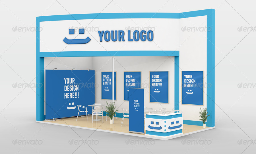 Simple Exhibition Stand Mockup : Free trade show booth mock up in psd templates